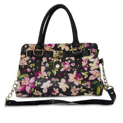 Black Vinyl Tote Handbag, Pink Floral Print