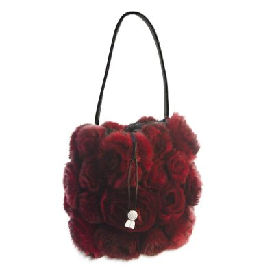 Red Rabbit Fur Rosette Handbag, Drawstring Closure
