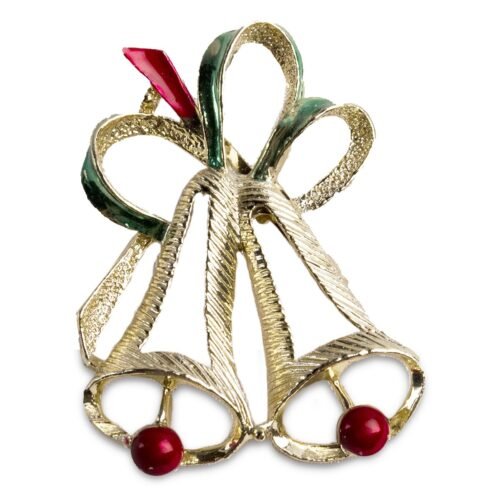 Gerry's Christmas Bell Brooch - Pin, Red and Green Enamel