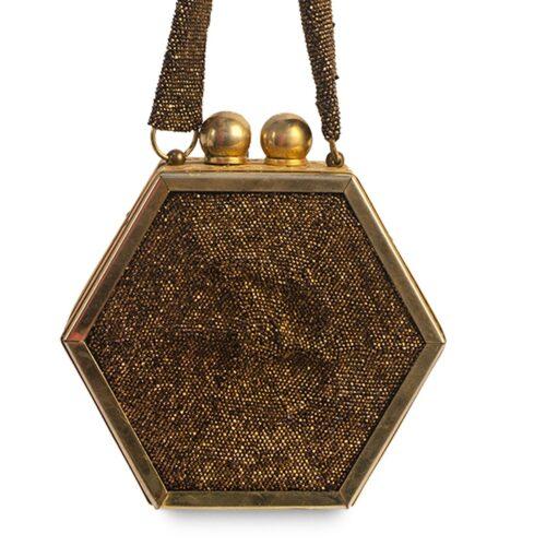 1940s Free-More Evening Bag, Art Deco Hexagon Brass Frame, Copper Beading