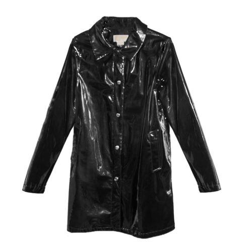 Michael Kors Trench Coat Black Patent Leather Raincoat