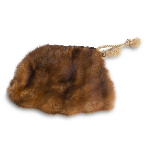 Vintage Mink Pouch Purse, Silk Tassel Drawstring