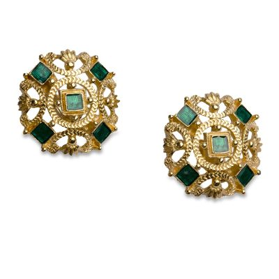 VIntage 80s Monet Gold Earrings with Green Enamel