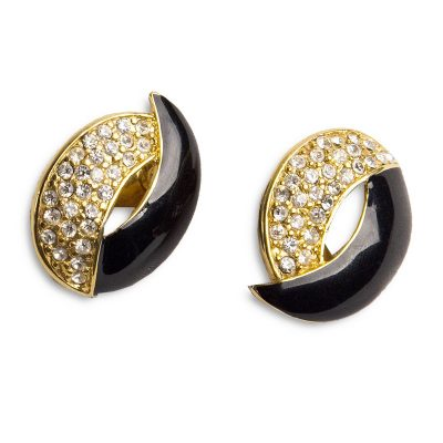 80s Monet Black Enamel & Rhinestone Clip Earrings