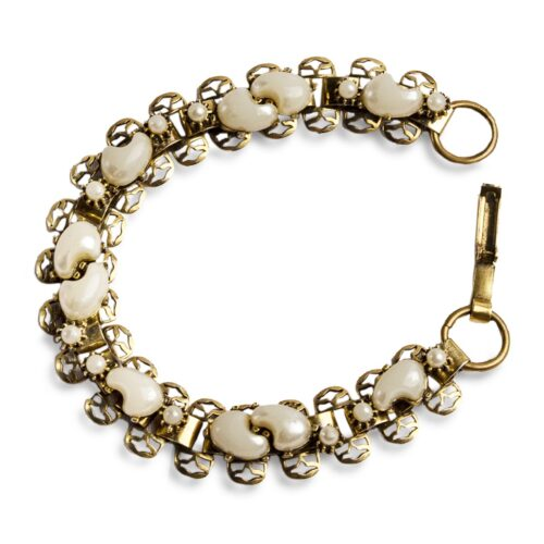 VIctorian Revival Moonglow & Brass Bracelet, Faux Dog Tooth River Pearls