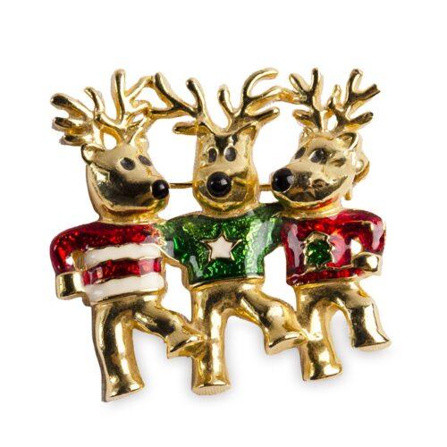 Vintage 70s Reindeer Trio Christmas Pin Brooch