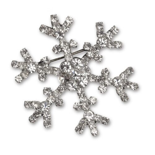 Vintage Rhinestone Snowflake Pin - Brooch