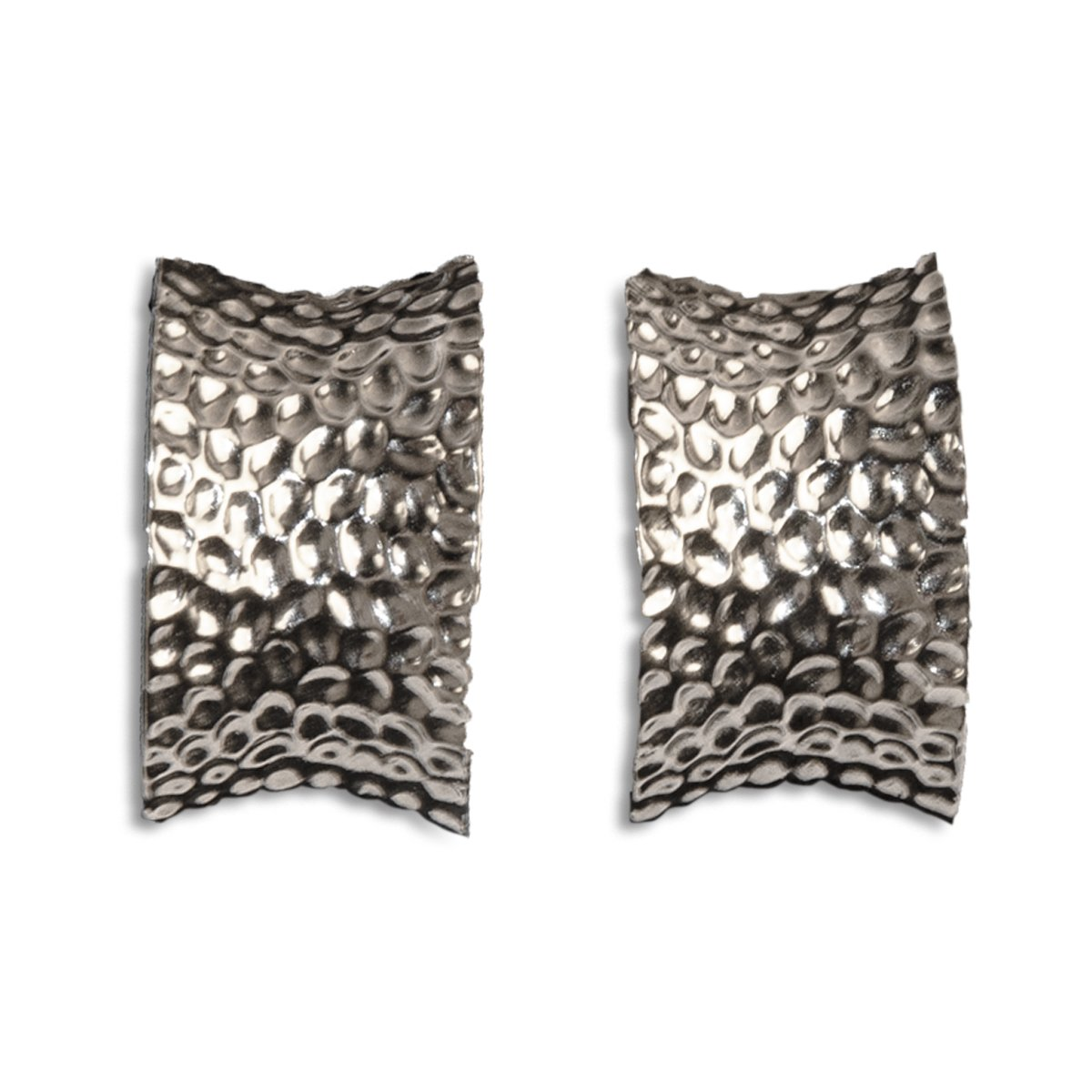 Silver Hammered Metal Hoop Ear Clips