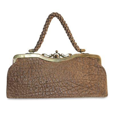 Antique Tan Pebble Leather Handbag, Silk Rope Handle