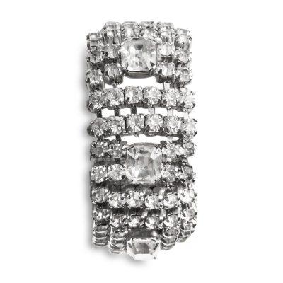 Wide Rhinestone Bracelet, Emerald Cut Stones