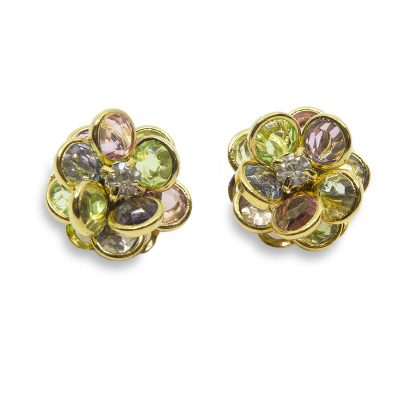Vintage Avon Crystal Earrings, Pastel Floral Design
