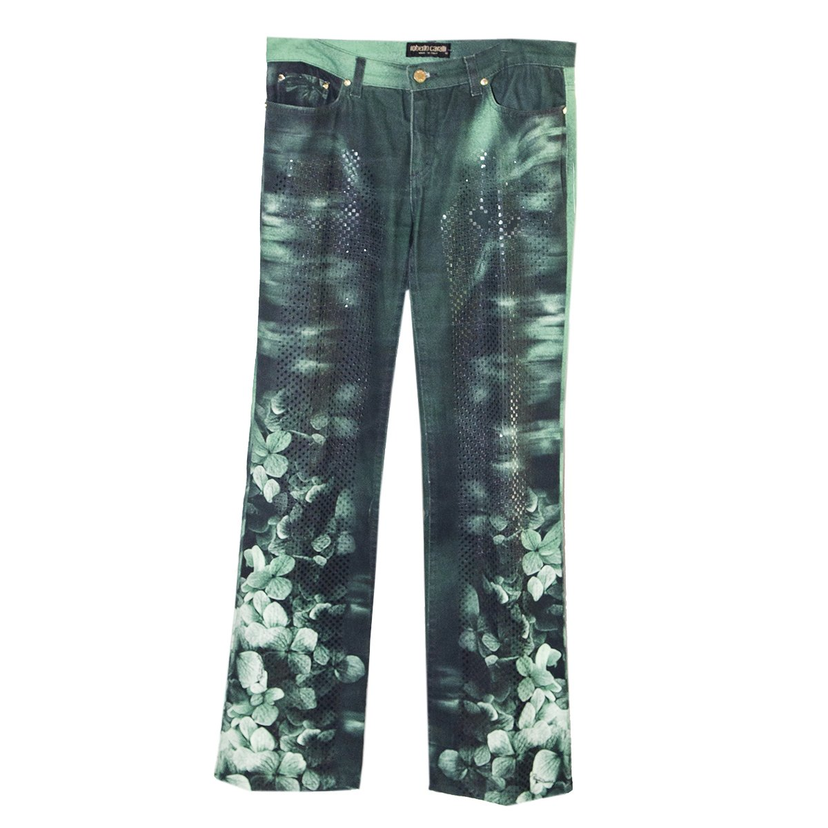 Vintage 90s Roberto Cavalli Green Floral Jeans, Sequins