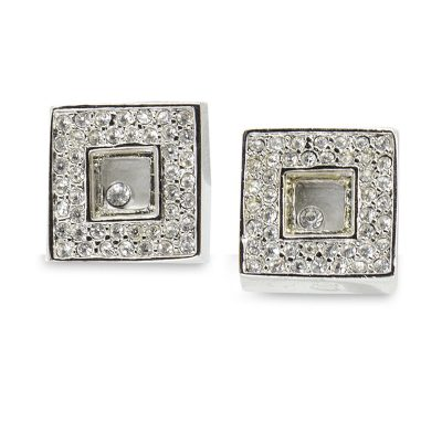 Vintage 90s Square Crystal Pierced Earrings