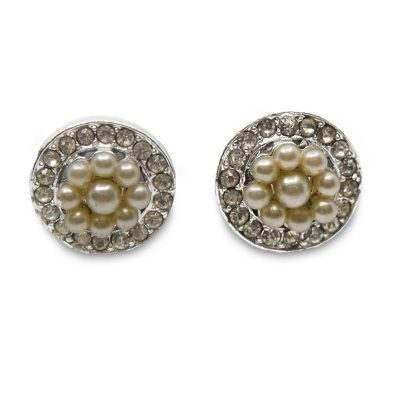 1950s Blush Pearl & Rhinestone Earrings