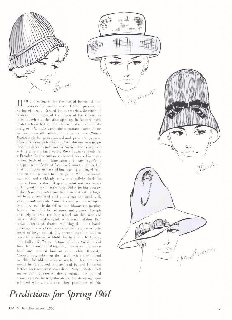 American Hat Designers 1961