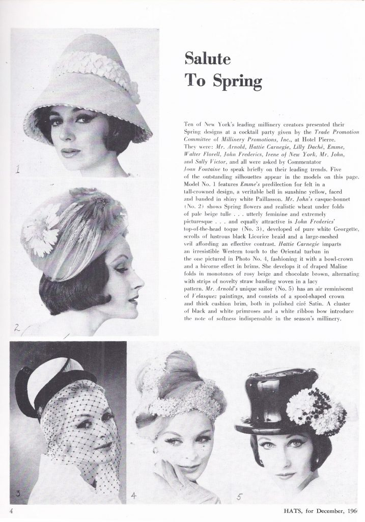 Spring hat fashions from 1961