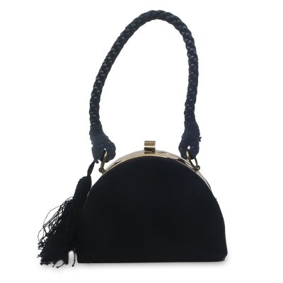 Vintage Black Structured Evening Bag, Rose Gold Hardware, Back Rope & Tassel Strap
