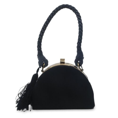 Vintage Black Structured Evening Bag, Rose Gold Hardware, Back Rope & Tassel Strap