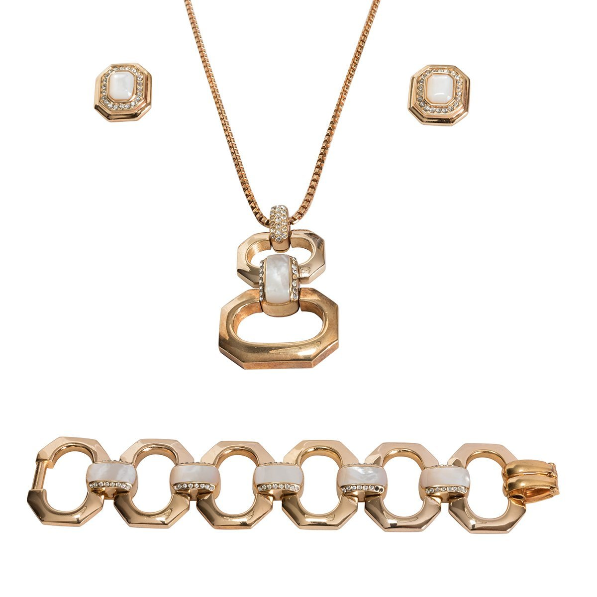 Christian Dior Diamante & Mother of Pearl Jewelry Set,