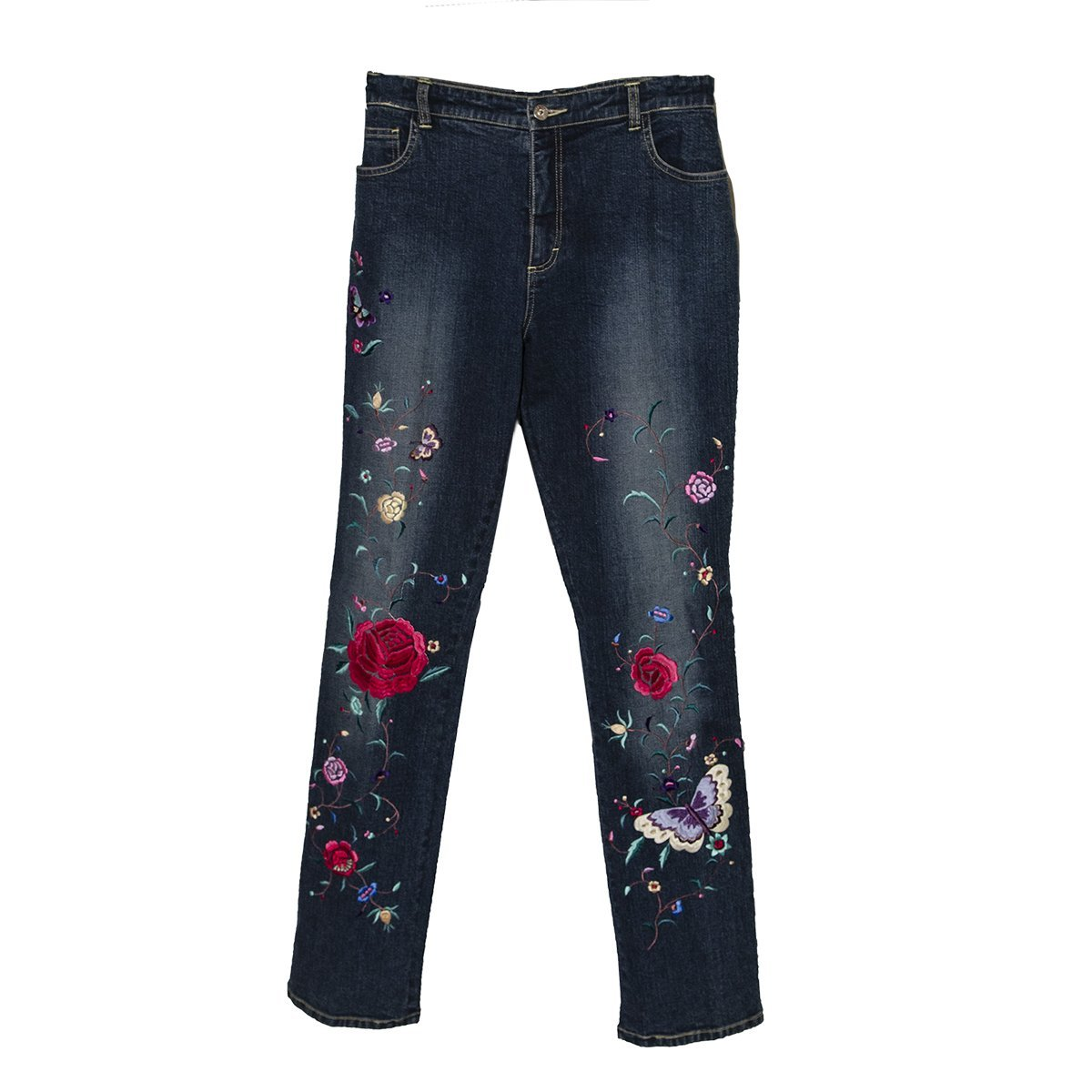 Embroidered Denim Jeans by Ricci Andrist, Size Small