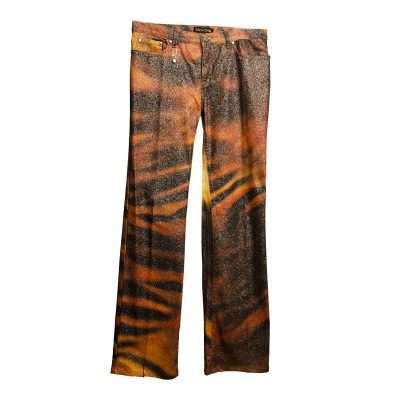 Roberto Cavalli Glitter Jeans, Orange & Brown