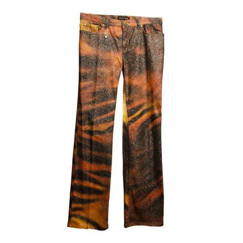 Roberto Cavalli Glitter Jeans, Orange & Brown