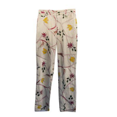 Vintage Velvet Jeans, Painted Floral Applique