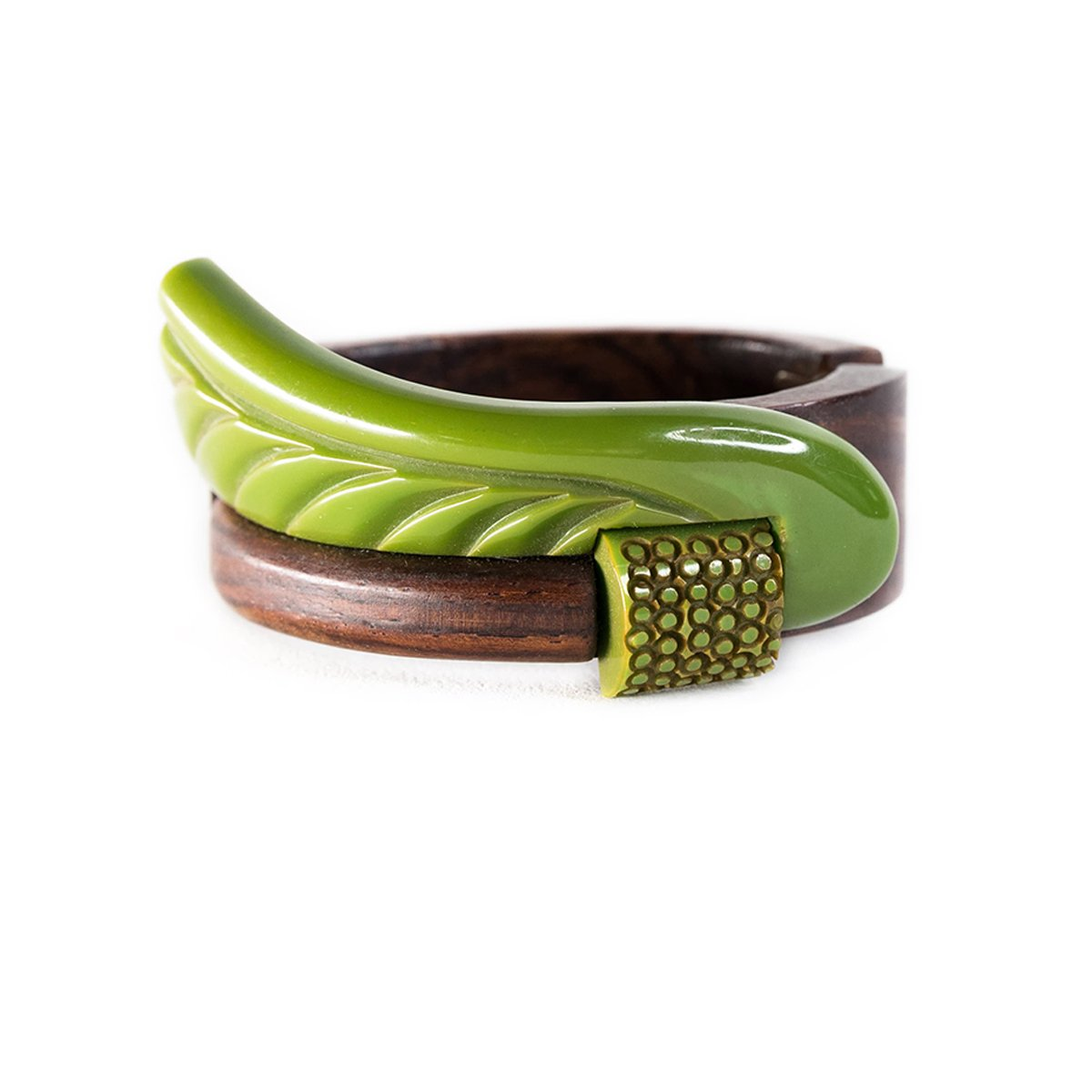 1940s Art Deco Bracelet, Green Bakelite & Wood Clamper