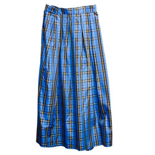 Vintage 80s Blue & Black  Taffeta Long Skirt