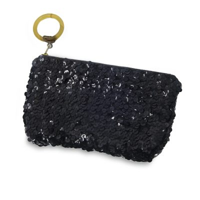 vintage clutch, black sequin purse