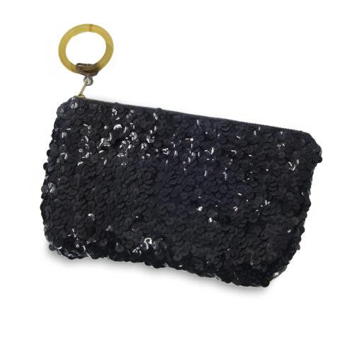 vintage clutch, black sequin purse