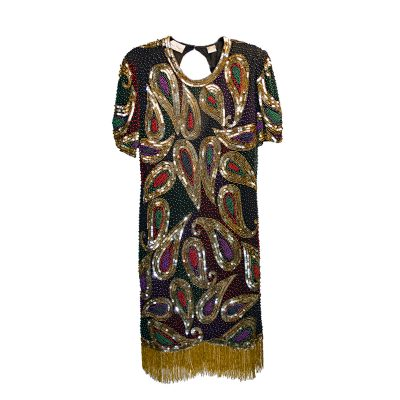 1980s Laurence Kazar Beaded Mini Dress