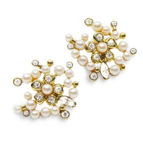 Vintage 80s Richeleau Earrings, Pearl & Gold Modernist design