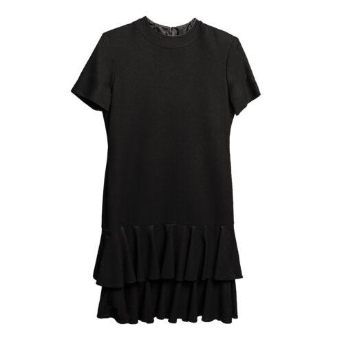 1980s Black ruffle Dress