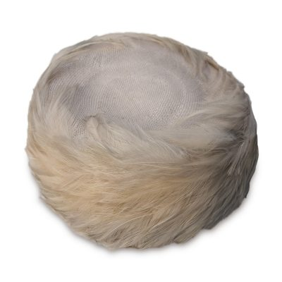 Gray Phyllis Feather Pillbox Hat
