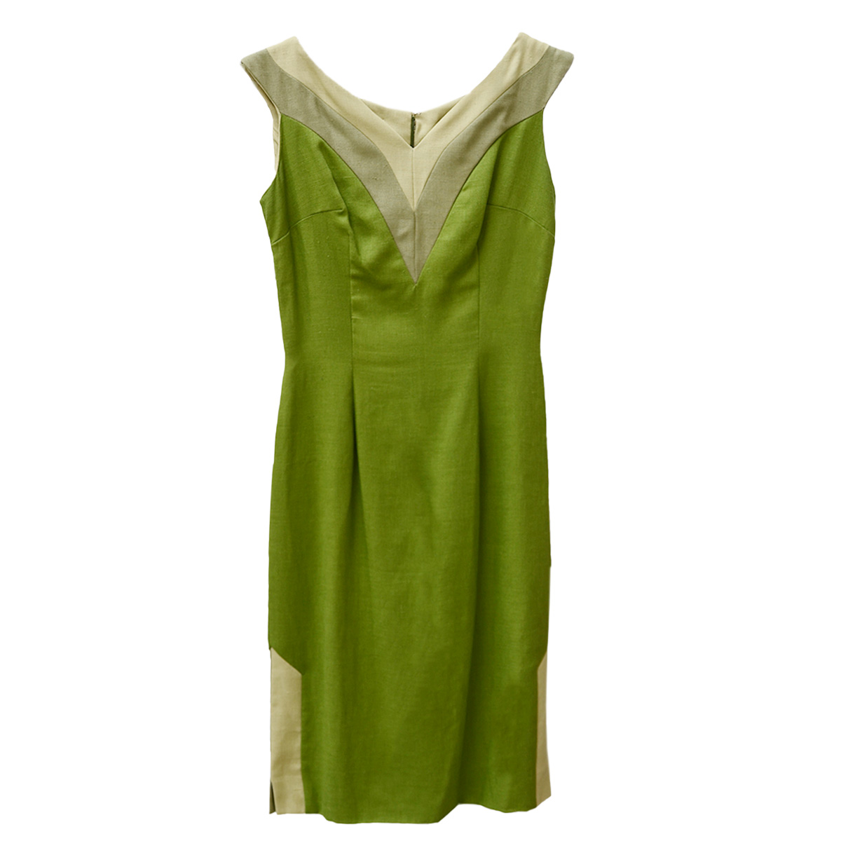 Short sleeve Green linen dress