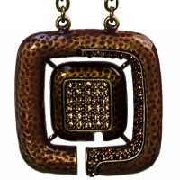 Square pendant amber crystals