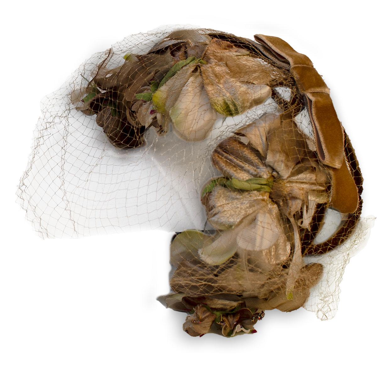 Brown flower half hat