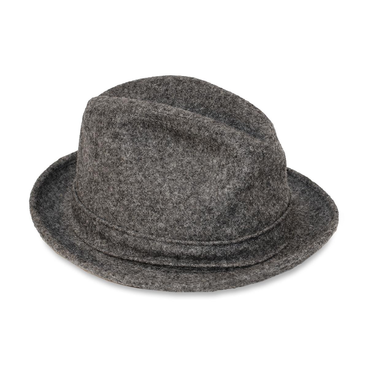 gray trilby hat