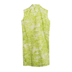 green and white toile print dress
