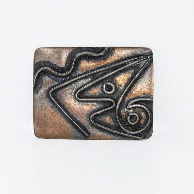 Vintage Modernist Brooch, Abstract Tribal Copper Design