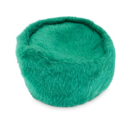 Bright green pillbox hat