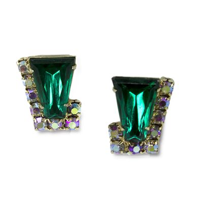 Emerald green rhinestone earrings.