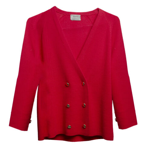 women double breasted cardigan, red knit jacket