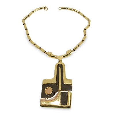 Abstract enamel necklace