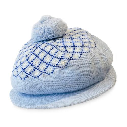 blue fair isle cap