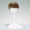 fake fur cap, faux brown mink