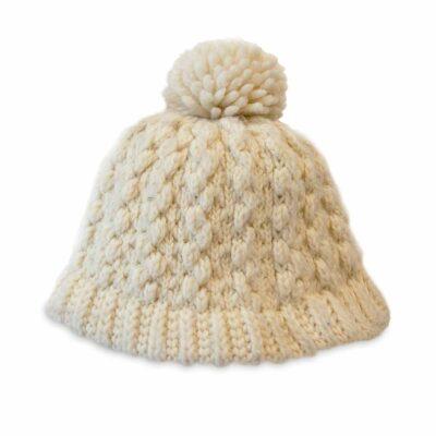 cable knit cap, cream cotton