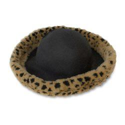 Faux leopard hat