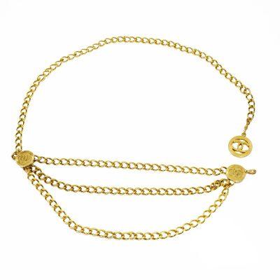 Vintage chanel gold chain belt